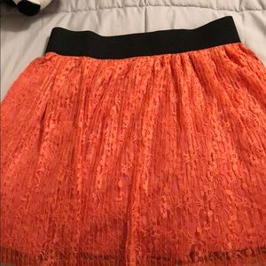 Candies Coral Orange Pleated Lace Skirt